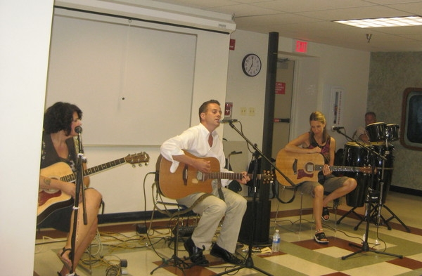 Bordentown Library Songwriters in the Round Jo Wymer, Domenick Carino, me and Danny Coleman on percussion.