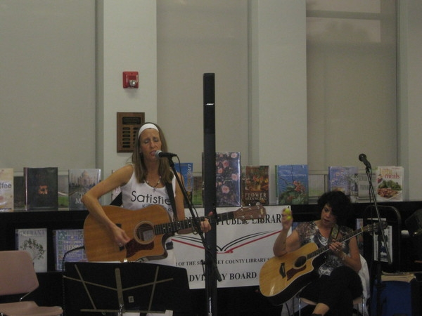 Songwriters in the round at Hillsborough Public Library with Jo Wymer, Keith Monacchio and myself