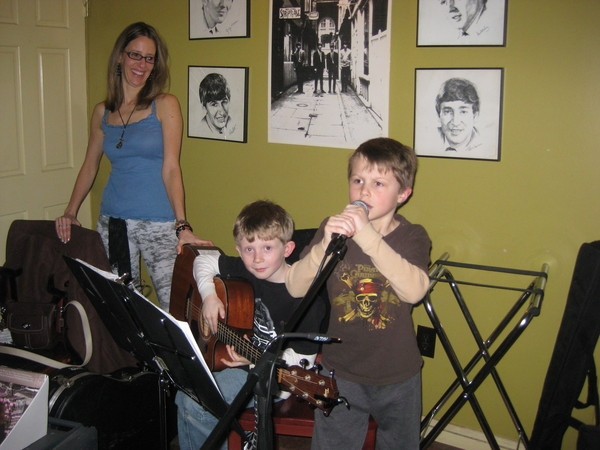 The future of music, my son on vocals and his friend on guitar.