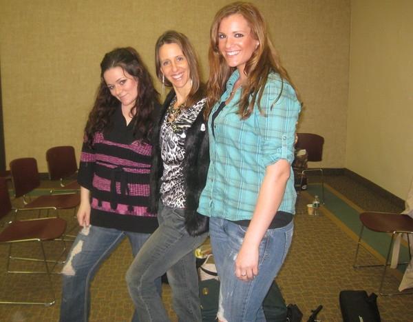 Kelly Carvin(small), Kim Yarson(medium), and Natalie Acciani (tall) had fun at West Deptford Library