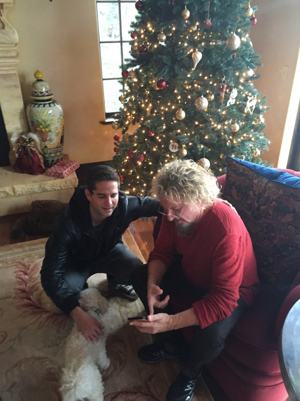 Tom and Unlce Sam hanging during thanksgiving.. the dog wanted in!