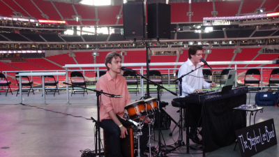 Soundcheck at Mercedes-Benz Stadium for opening weekend VIP event