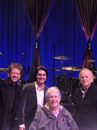 Stephen with Brian Wilson, Al Jardine, and Blondie Chaplin