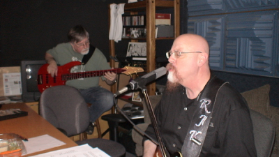 RJ and Rob playing along with Rick while he is laying the drum tracks.