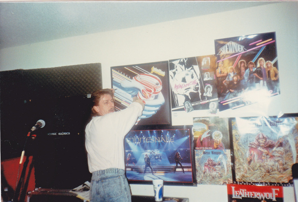 Dave Holland Judas Priest drummer in our studio signing the Trurbo Poster