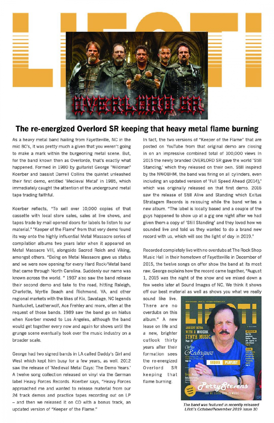Spotlight Article in Lifoti Entertainment Magazine Oct/November 2019