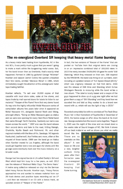 Spotlight Article on the band in Lifoti Entertainment Magazine with World wide dsitrbution. Oct/November issue 2019.