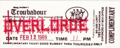 Ticket to Trubadour Show Feb. 12, 1989