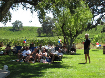 The crowd at Peachy Canyon winery enjoying wine and the blues on July 4th, 2011