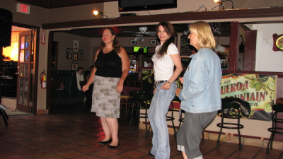 Madeline, Ronnie & MaryJo dancing to the electrified blues of The Mojo Combo at the Shell Cafe in Pismo Beach, CA in August 2012