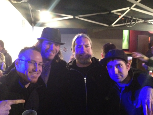 <p>&nbsp;Jay Terrien, myself, Thomas Haake, Mark Guiliana, 1-2012...Haake is a hero...drummer for meshuggah...that band has made me re-think a couple things...</p>