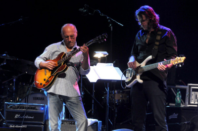 <p> Larry Carlton and I, Dallas TX the Grenada Theater, May 2012. Photo by Bill Ellison. </p>