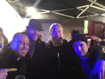 <p> Jay Terrien, myself, Thomas Haake, Mark Guiliana, 1-2012...Haake is a hero...drummer for meshuggah...that band has made me re-think a couple things...</p>