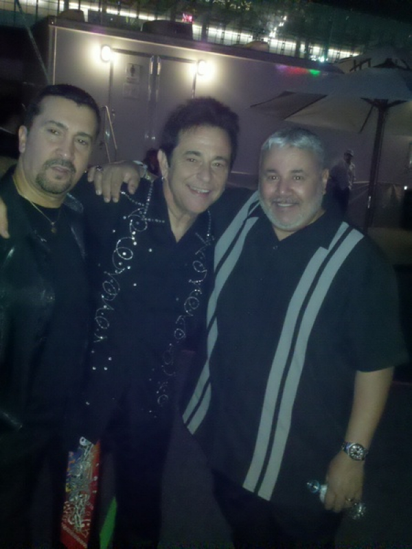 CENTER/ FERMIN GOYTISOLO, PERCUSSIONIST FOR K.C. AND THE SUNSHINE BAND RIGHT/ MUSIC DIRECTOR AND DEAR FRIEND CARLTON PINA