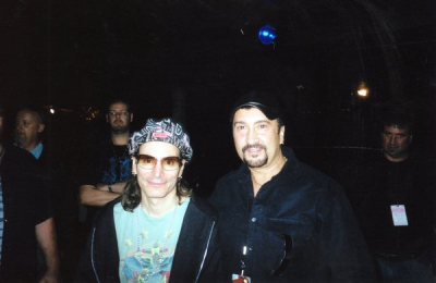 WITH THE ONE AND ONLY MR. STEVE VAI. HE IS AN INCREDIBLE SOLO ARTIST WHO HAS PLAYED FOR FRANK ZAPPA, WHITE SNAKE, AND DAVID LEE ROTH.  http://www.vai.com
