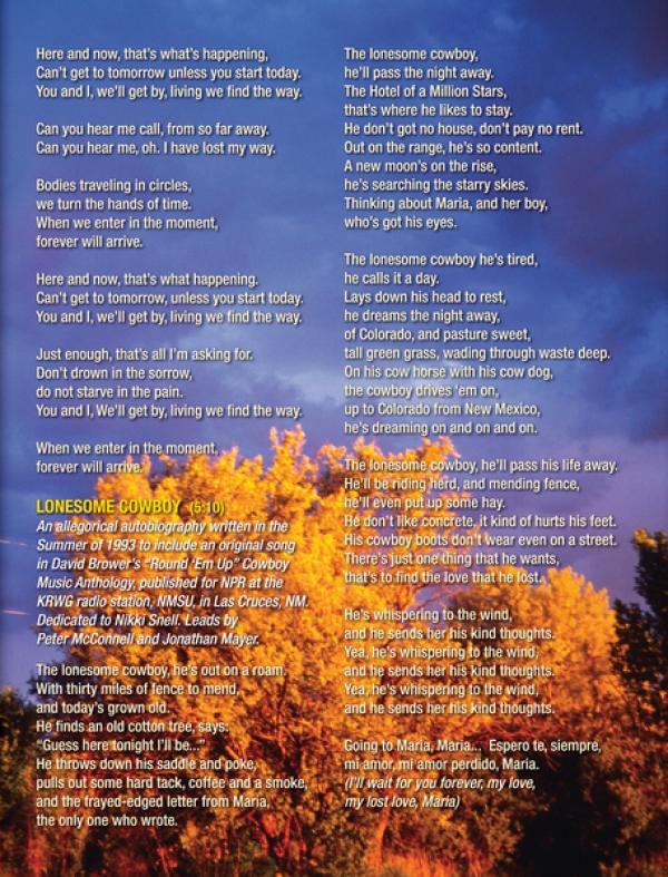 Insert - Liner Notes - Lyrics. Taos, New Mexico, thunderstorm sunset.