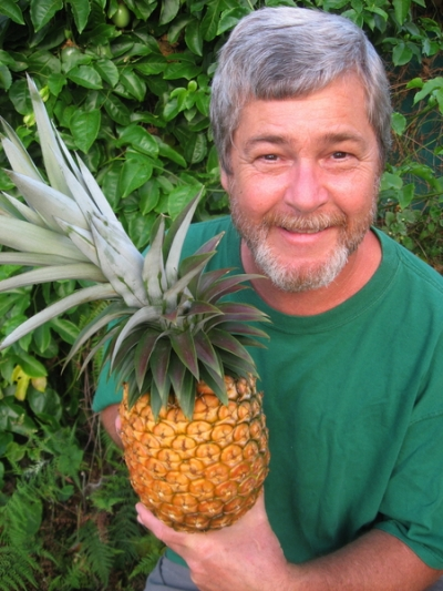 Hambone With Pineapple   (Still-life image from the backyard garden, 2011.)  (Note how gray hair has emerged since 2003 when it was almost all brown... Each one another shred of wisdom, I like to think.)