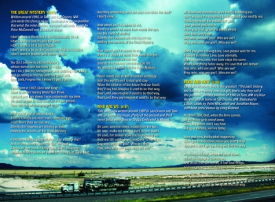 Insert - Liner Notes - Lyrics. Monsoon sky, Animas Playa, Lordsburg, New Mexico, I-10 Exit at Route 80 South to Cotton City and Animas. The tractor-trailer was hauling smashed flat cars.