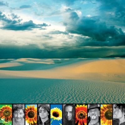Album Jacket - Inside Panel. White Sands, New Mexico, USA, sunset at top. Band collage left to right: Arthur, Jonathan, Upton, Peter, Craig.