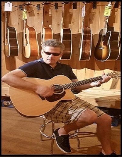 GerGut Enjoying a Martin Acoustic/Electric Guitar 2015. Reference OMCPA4