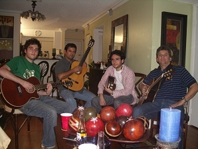 From Letf To Right, Andres,Fercho,David & GerGut. My Nephews Andres & David Gutierrez From Colombia.  They Also Musicians and Playing With Bands. Jamming at Home in 2010