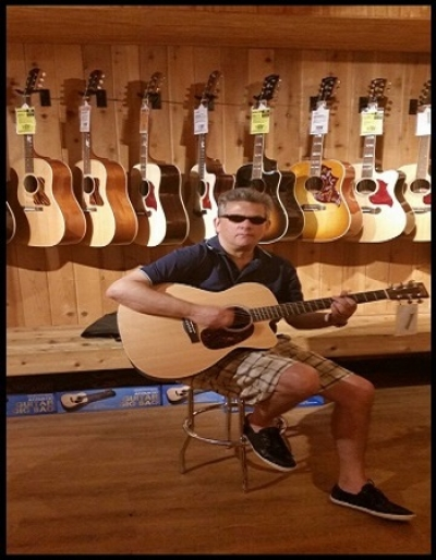 GerGut Playing a Martin Acoustic/Electric Guitar 2015. Reference OMCPA4
