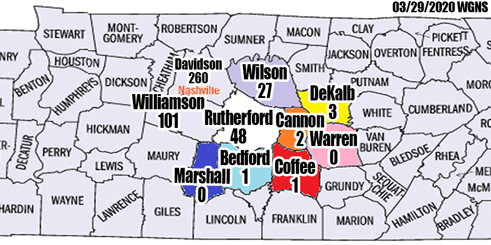 More Rural Areas around Rutherford County with COVID-19 Confirmed