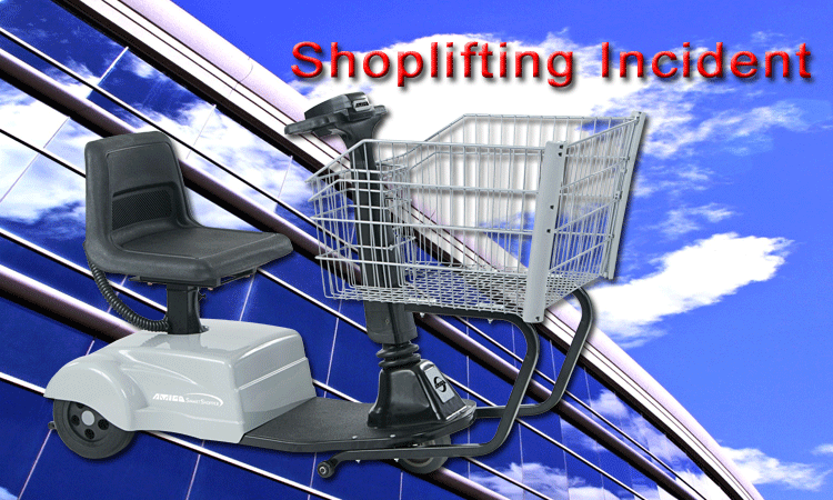 Woman in motorized wheelchair / shopping cart accused of shoplifting