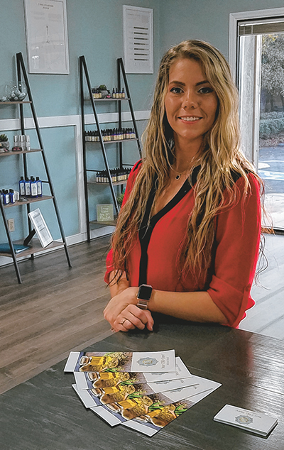 Jessica Rollins in the showroom of Your CBD Store on Hilton Head Island. The store, which Rollins owns, is the first of its kind on the island. DEAN ROWLAND