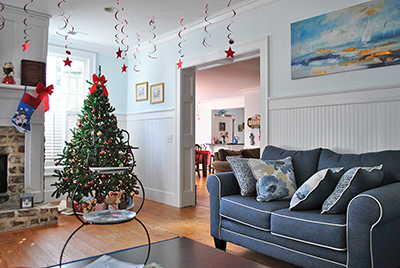 The living room of the Hope House for Women in Beaufort was decked out for the holidays. COURTESY HOPE HOUSE