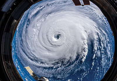 This panoramic view of Hurricane Florence was captured from the International Space Station Sept. 10, 2018, when the storm was at Category 4 strength. COURTESY NASA/ASTRONAUT ALEXANDER GERST