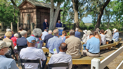 Heritage Library board chairman Cal Callahan introduces Hilton Head Island Mayor John McCann during the recognition ceremony May 6 naming Zion Chapel of Ease to the National Register of Historic Places. COURTESY HERITAGE LIBRARY