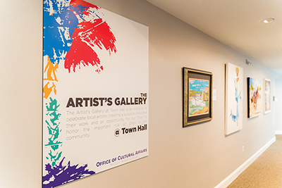 The Artist's Gallery at Town Hall features the work of 24 local artists. The exhibition changes every four to six months. GUSTAVO RATTIA