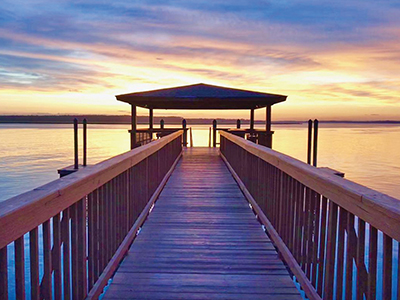The dock at the Spanish Wells Club offers some of the best sunset views on Hilton Head Island. Membership is open to all island residents. SPANISH WELLS CLUB