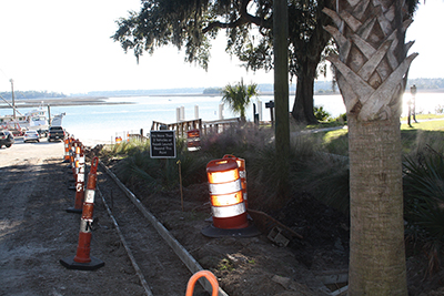 Preparations have begun for an improvement project on the boat ramp at Oyster Factory Park. Changes will include improved drainage and new sidewalks. KEVIN AYLMER