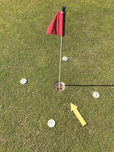 Non-linear putters should visualize the hole as a clock in order to improve their putting. JEAN HARRIS