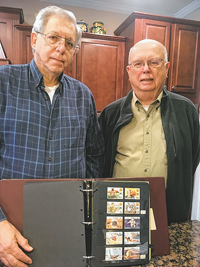 Ron Alfin, LEFT, president of the Sun City Stamp Collecting Club, and Bob Whyte, treasurer, share a love for finding and saving postage stamps. EDWINA HOYLE