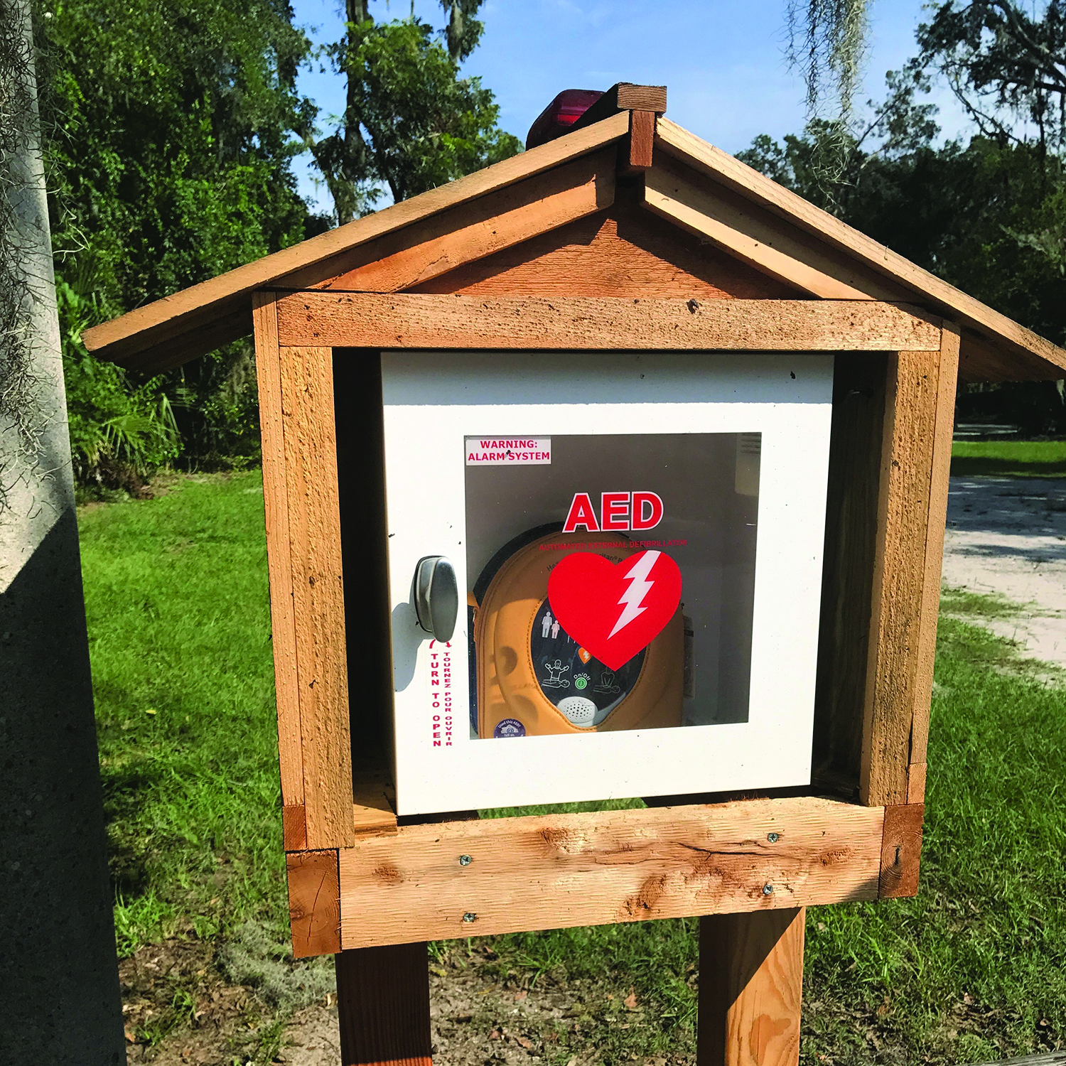 A stand-alone defibrillation station like this one, housing a public-use automated external defibrillator, was vandalized in Bluffton recently and the AED stolen. A fundraising campaign has been started to replace them. SUBMITTED