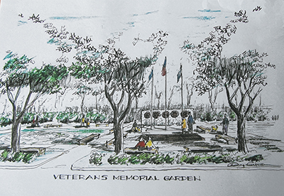 Bluffton artist and architect Doug Corkern donated his time and talent to create this potential design for the Bluffton Veterans Memorial park and garden.