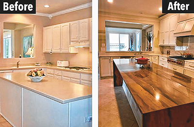 Just changing the countertop on a kitchen makes a big difference, while remodeling the whole room makes it all new. SOPHIA SCHADE