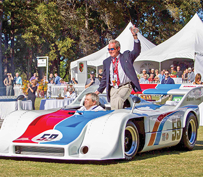 Hurley Haywood poses with his Brumos Racing Porsche 917/10. COURTESY HURLEY HAYWOOD