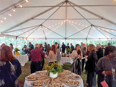 Attendees from a previous Bourbon & Bubbly event enjoy cocktails and appetizers before the main event. This year's event will be held Oct. 24 at the River Club at Oldfield. COURTESY BLUFFTON JASPER VIM