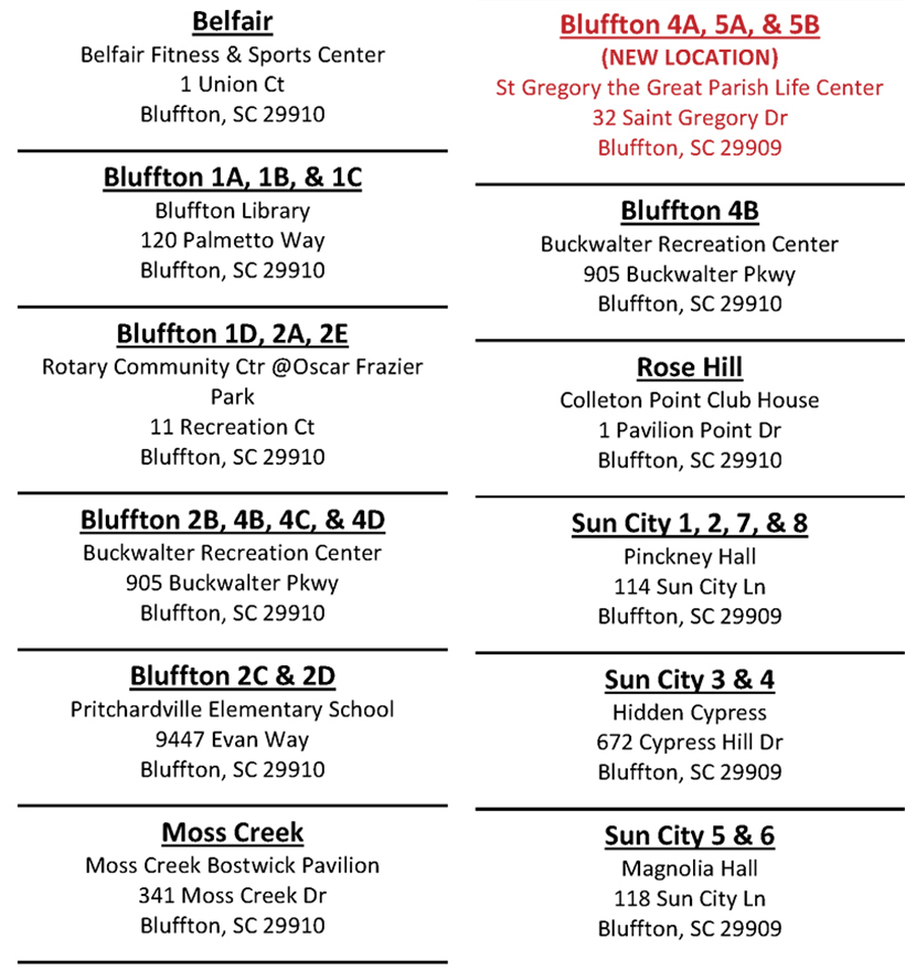 BLUFFTON POLLING PLACES