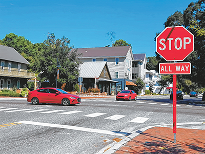 Motorists heading north on Bluffton Road (S.C. 46) at the four-way intersection in Old Town are among the 14,500 vehicles that travel that road daily, according to 2017 data from the South Carolina Department of Transportation. DEAN ROWLAND