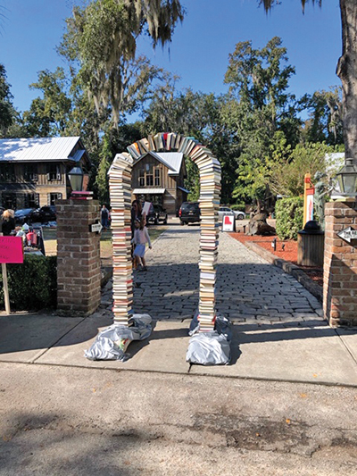 This clever book sculpture marked the entry to a previous year's Bluffton Book Festival. SUBMITTED