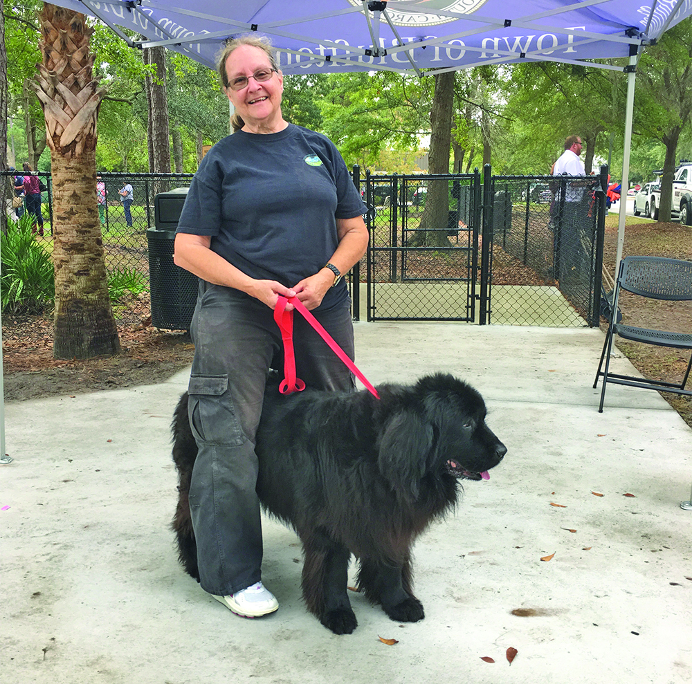 Abby Bird and Georgia, her Newfoundland, celebrated the ribbon cutting Nov. 7 at the Bluffton Dog Park.