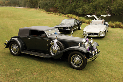 Best in Show honors went to a 1931 Stutz DV32 Convertible Victoria, front, with the Paul Doerring Founders Award going to a 1967 American Shelby GT350 Fastback, back left; the 1955 Mercedes-Benz 300SL Gull Wing, right, won Best Road & Track Vehicle. COURT