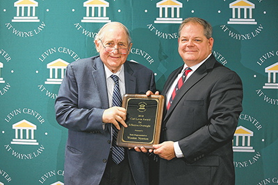 Sen. Carl Levin, left, awarded the inaugural Carl Levin Award for Effective Oversight to S.C. Rep. Weston Newton in Washington, D.C., on Nov. 16. COURTESY PAM RUTTER/POGO.ORG