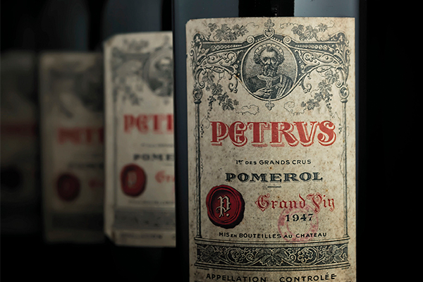 Image feauturing bottles of of 1947 Pétrus