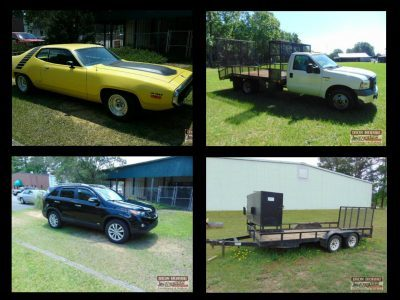 Plymouth Road Runner, Kia Sorento, Honda CRV, Ford F350, Trailers, Lawn Care Equipment & Furniture